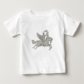 Bellerophon Riding Pegasus Holding Torch Drawing Baby T-Shirt