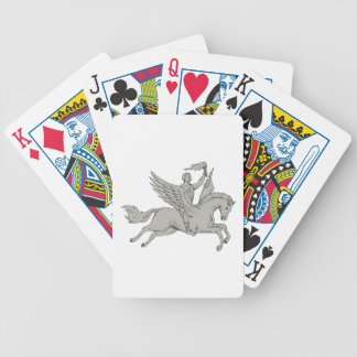 Bellerophon Riding Pegasus Holding Torch Drawing Bicycle Playing Cards