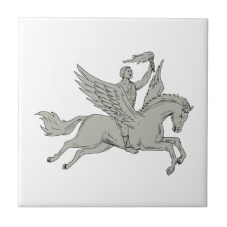 Bellerophon Riding Pegasus Holding Torch Drawing Ceramic Tile
