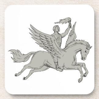 Bellerophon Riding Pegasus Holding Torch Drawing Coaster