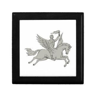 Bellerophon Riding Pegasus Holding Torch Drawing Gift Box
