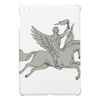 Bellerophon Riding Pegasus Holding Torch Drawing iPad Mini Case