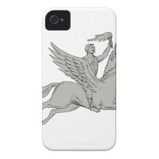 Bellerophon Riding Pegasus Holding Torch Drawing iPhone 4 Case
