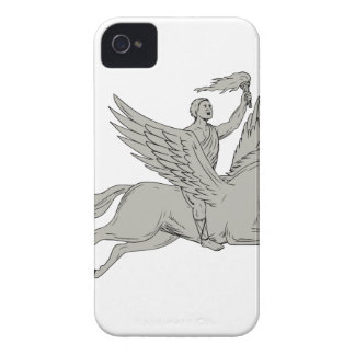 Bellerophon Riding Pegasus Holding Torch Drawing iPhone 4 Covers