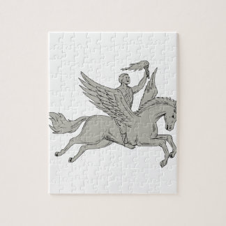 Bellerophon Riding Pegasus Holding Torch Drawing Jigsaw Puzzle
