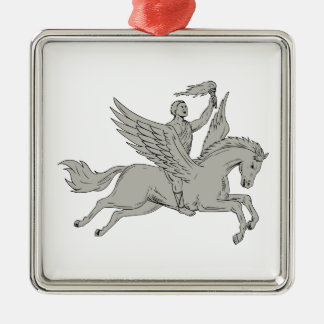 Bellerophon Riding Pegasus Holding Torch Drawing Metal Ornament