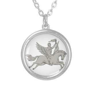 Bellerophon Riding Pegasus Holding Torch Drawing Silver Plated Necklace