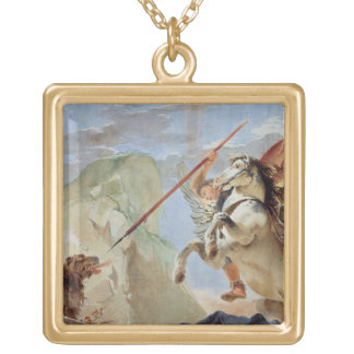 Bellerophon, riding Pegasus, slaying the Chimaera, Gold Plated Necklace