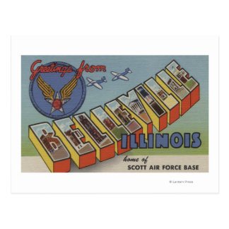 Belleville, Illinois - Large Letter Scenes Postcard