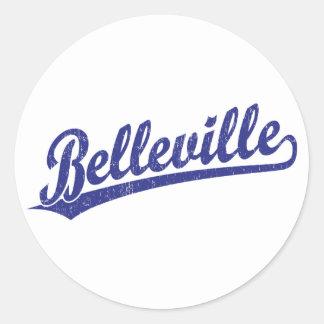 Belleville script logo in blue classic round sticker