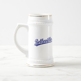 Belleville script logo in blue mug