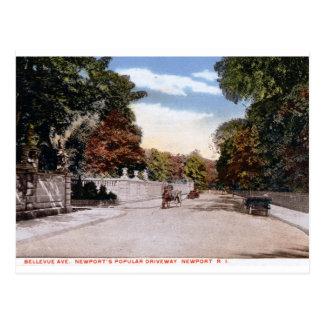 Bellevue Ave., Newport RI Vintage Postcard