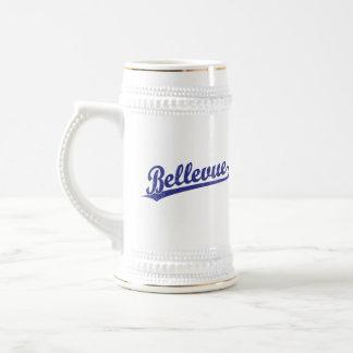 Bellevue script logo in blue coffee mugs