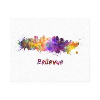 Bellevue skyline in watercolor canvas print
