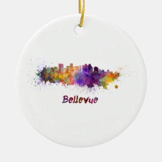 Bellevue skyline in watercolor ceramic ornament