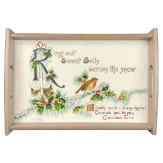 Bells Across The Snow Vintage Happy Christmas Time Serving Tray