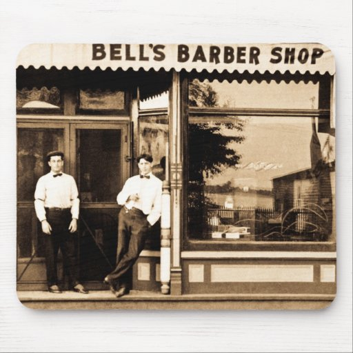 Bell's Barber Shop Vintage Americana Mouse Pads