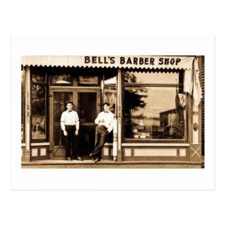 Bell's Barber Shop Vintage Americana Postcard