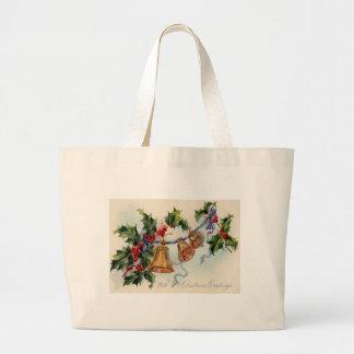 Bells Ribbon Holly Winterberry Jumbo Tote Bag