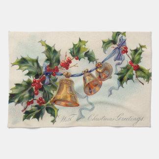 Bells Ribbon Holly Winterberry Tea Towel