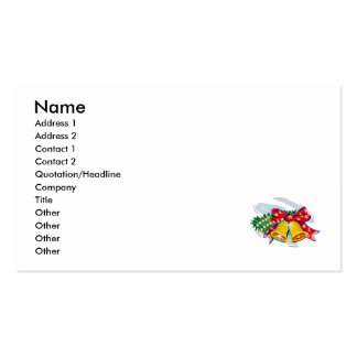bells with bows and holly pack of standard business cards