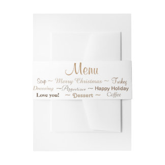 Belly Band Own Color, Text and Menu Invitation Belly Band
