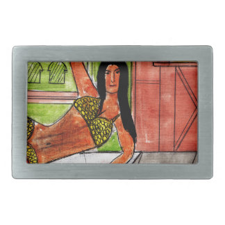 Belly Dancer Rectangular Belt Buckle