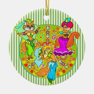 Belly Dancing Cats Ceramic Ornament