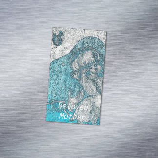 Beloved Mother Virgin Mary Jesus Christ Vintage Magnetic Business Card