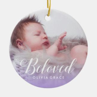 Beloved Purple   Baby Photo Name & Birth Stats Ceramic Ornament
