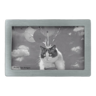 Belt Buckle: Funny cat flying with Balloons Belt Buckles