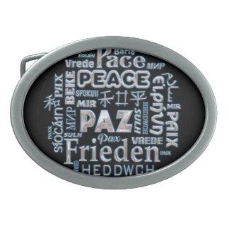 Belt buckle pewter peace words multilanguage