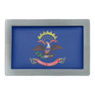 Belt Buckle with Flag of North Dakota State