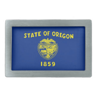 Belt Buckle with Flag of Oregon State