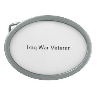 "belt buckle with ""Iraq War Veteran"""
