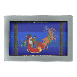 Belt Buckle with Santa in his Sleigh