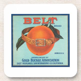Belt Gold Buckle Association Vintage Crate Label Coasters