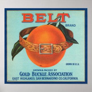 Belt Gold Buckle Association Vintage Crate Label Poster