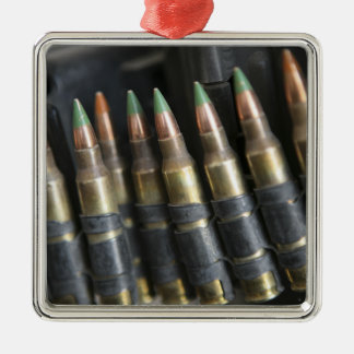 Belted bullets for an M-249 squad automatic wea Silver-Colored Square Decoration