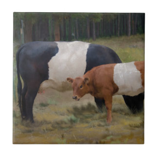 Belted cow and calf with texture small square tile