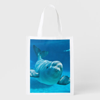 Beluga Whale Reusable Grocery Bag