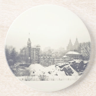 Belvedere Castle in the Winter in Central Park Drink Coaster