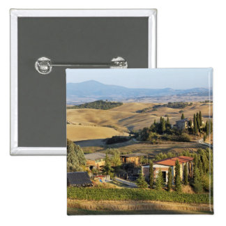 Belvedere House at sunset, San Quirico d'Orcia 15 Cm Square Badge