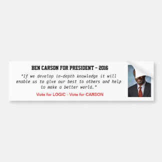 Ben Carson for President - 2016 Bumper Sticker