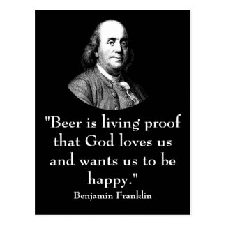 Ben Franklin and Quote Postcard