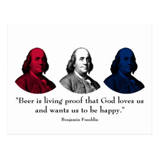 Ben Franklin and Quote -- Red, White, and Blue Postcards