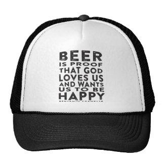 Ben Franklin Beer Quote - Dark Design Trucker Hat