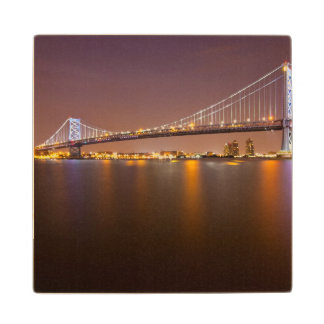 Ben Franklin Bridge Wood Coaster