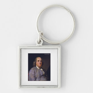 """Ben Franklin """"Love Thy Neibhbor But.."""" Quote Gifts Silver-Colored Square Key Ring"""