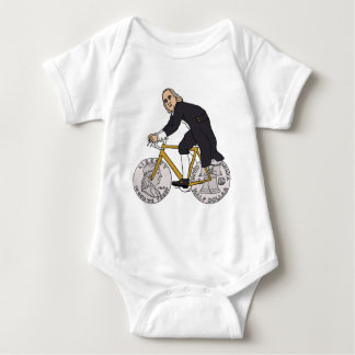 Ben Franklin On A Bike With Half Dollar Wheels Baby Bodysuit